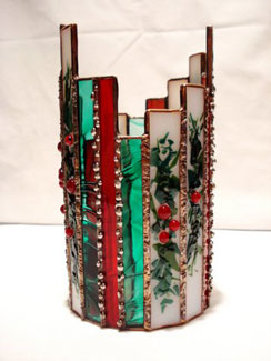 Sand Lake Trading fused glass votive Christmas design