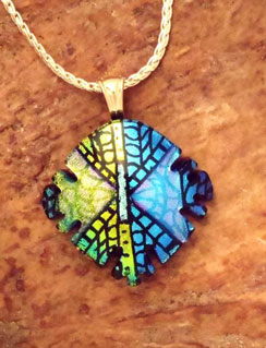 Sand Lake Trading Fushed Glass Etched Dichroic Pendant