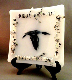 Sand Lake Trading fused glass decorative Goose Plate