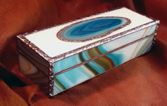 Sand Lake Trading fused glass treasure box turquoise brown