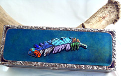 Sand Lake Trading rectangular treasure box with fused glass and copper foil