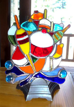 Sand Lake Trading Stained Glass Bobber Window Hanging