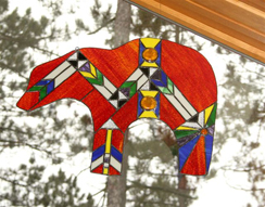 Sand Lake Trading stained glass Bear window hanging