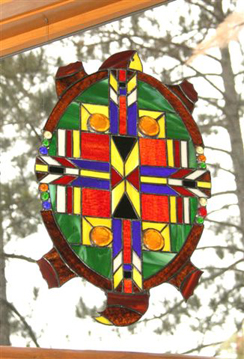 Sand Lake Trading stained glass Turtle window hanging