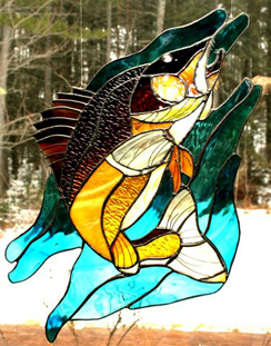 Sand Lake Trading Walleye stained glass window hanging